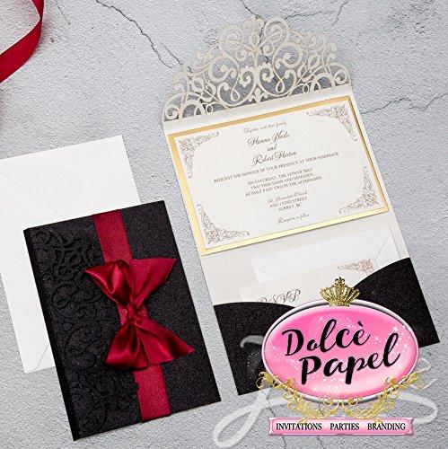 25 Gorgeous BLACK Glitter Laser Cut Wrap Intricate Lace Pocket Elegant Invitations Set