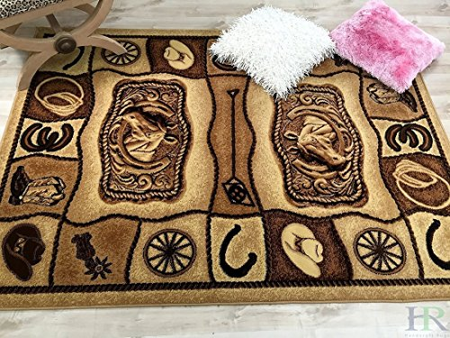 Lodge, Cabin Nature and Animals Area Rug - Geometric Pattern Cabin Area Rug - Abstract, Chocolate/Beige-Horse/Cowboy Boots-Hat/Horseshoe (Chocolate 10' Boots)