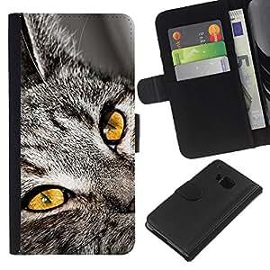 EJOY---La carpeta del tirón la caja de cuero de alta calidad de la PU Caso protector / HTC One M7 / --Chartreux Serengeti Bengala gato de Shorthair