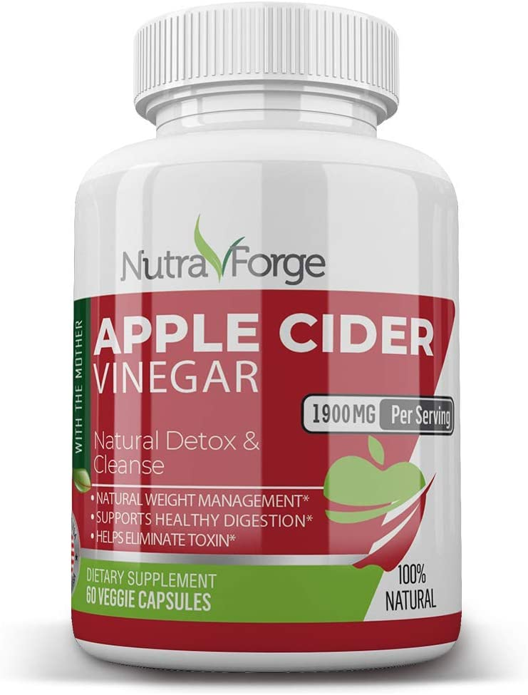 Apple Cider Vinegar Capsules Organic - Extra Strength 1900mg - Apple Cider Vinegar Pills for Weight Loss, Natural Detox & Metabolism Boost - Healthy Blood Sugar, Detox & Digestion