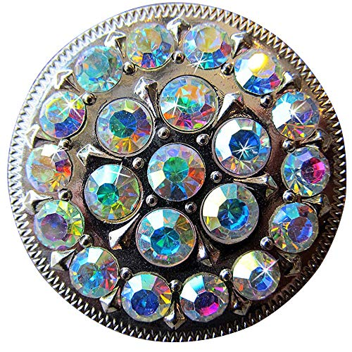 Set of 8 Crystal Rhinestone Bling Berry Concho Glittering AB Stone Nickle Finish
