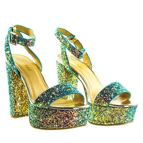Glitter Block Heel Platform Open Toe Strappy Evening Party Dress Sandal Blue Glitter V9qOlgO9