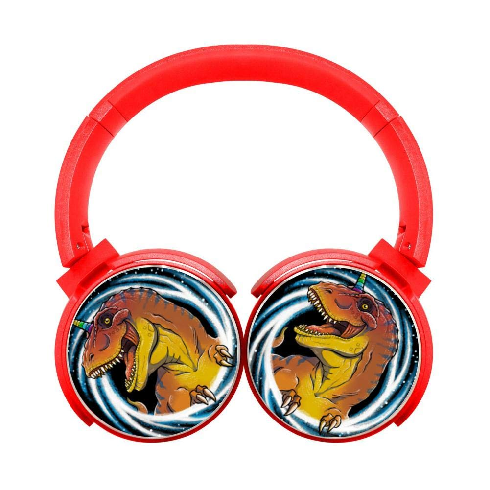 Cool Dinosaurs Customized Wireless Retractable Bluetooth Headphones Headsets Over Ear for Kids Or Adults Red