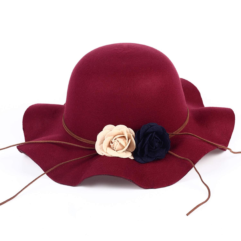 DOSOMI Fedoras Flowers Felt Hat Baby Bowknot hat Girl Big Brim Floppy Cap Children Accessories