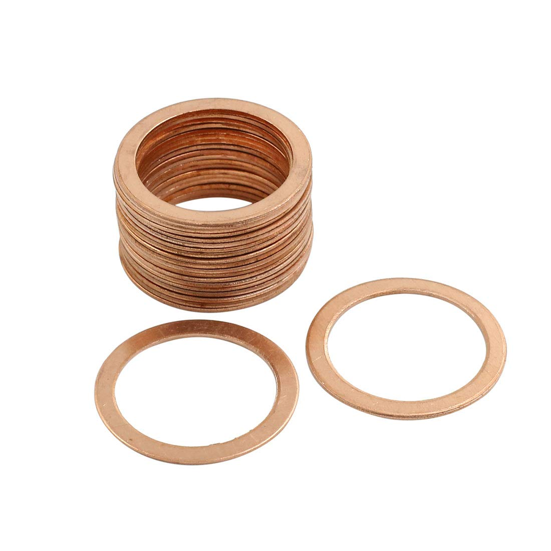 X AUTOHAUX 20 Pcs 25mm Inner Dia Copper Washers Flat Sealing Gasket Rings for Car