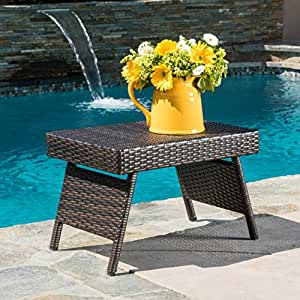 Lakeport outdoor wicker table kitchen dining for Great deals on outdoor furniture