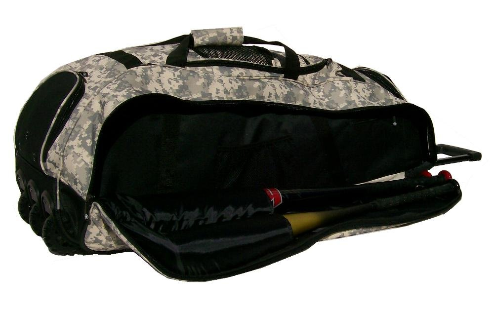 Catchers Bag in Digital Camouflage Cobra XL III Three Wheels Softball Baseball Bat Equipment Roller Bag