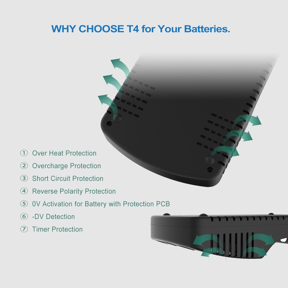 Intelligent 4 Slots Battery Charger, Smart Ni-MH Li-ion Battery Charger with USB port for 1.2V A AA AAA SC, 3.6V/3.7V 18650 26650 20700 21700 26500 22650 18490 17670 17500 17355 UK Adapter