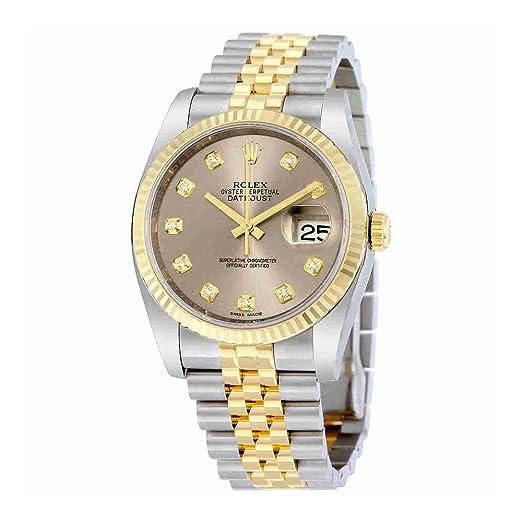 Rolex Datejust 116233GYDJ- Reloj de pulsera para hombre con esfera de diamante gris, con bisel flauta y dos tonos: Rolex: Amazon.es: Relojes