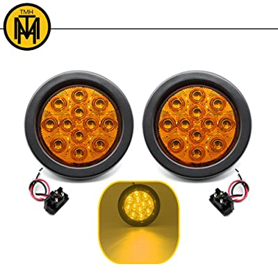 TMH 2pcs 4 Inch 12 Super Bright LED Tail Turn Signal Indicator Light Marker Amber Assembly Rubber Mount Grommet for Trucks Trailers: Automotive