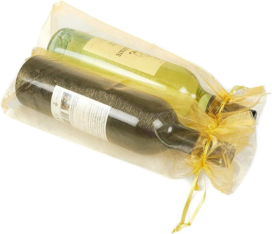 Bolsas para Botellas de Vino de Organza,20 Pack Bolsas de Vino de Organza Bolsas de Regalo de Botella de Vino con Cord/ón para Favores Fiesta Decoraci/ón de Boda de Navidad 5 Colores 15*38CM