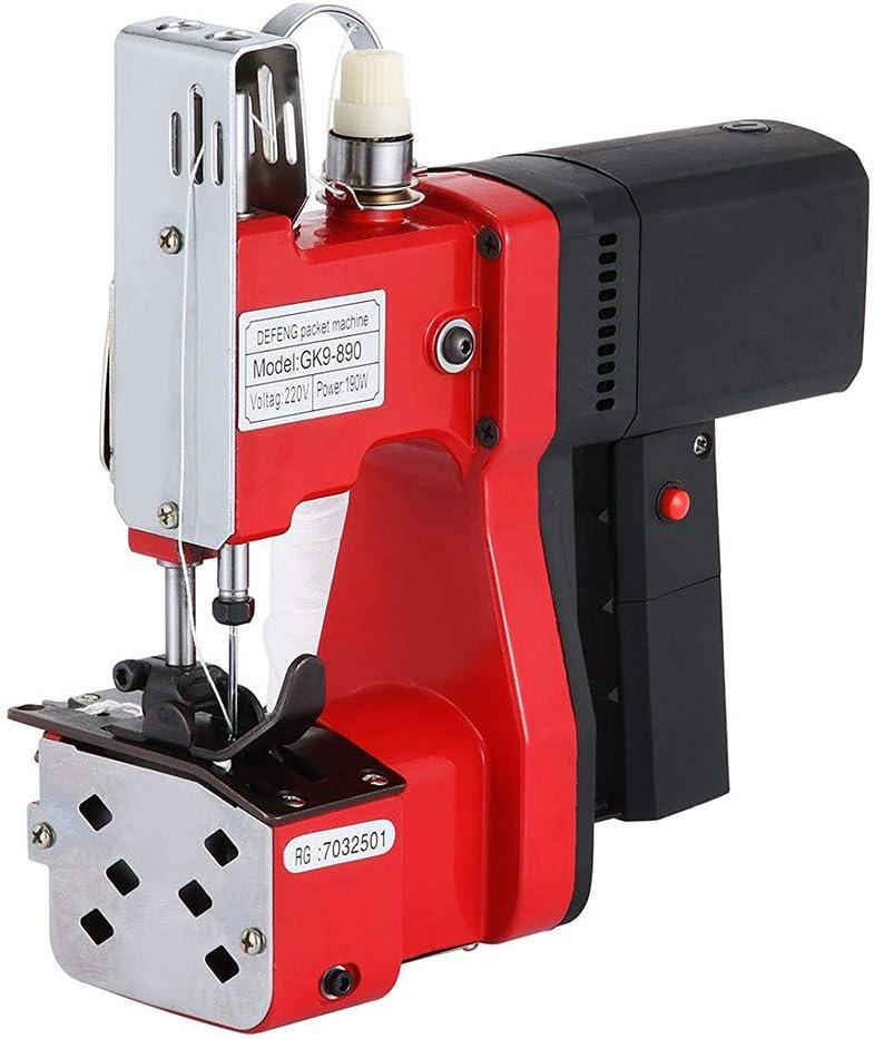 TOPQSC Máquina de Coser Portátil para Cerrar Bolsas Máquina Cerrada de Cierre de Bolsa Industrial de Bolsa de Tejido de Punto Para Bolsa de Piel de Serpiente (Rojo)