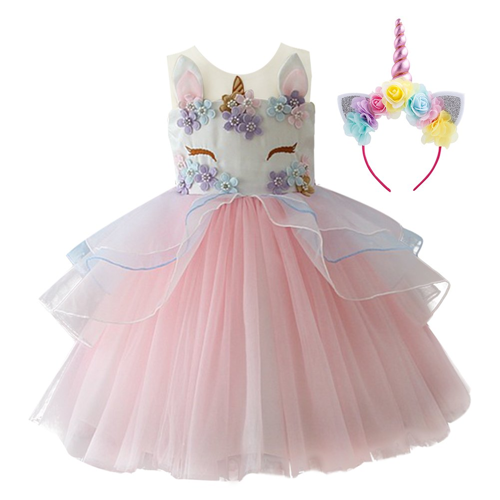 Little Big Girls Flower Tulle Birthday Unicorn Costume Cosplay Princess Wedding Pageant Tutu Dress up Formal Party Dance Evening Gowns Headband Outfits