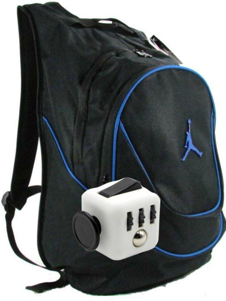 Nike Air Jordan Jumpman 23 Book Bag Backpack with FREE FIDGET CUBE (Black w/Blue Trim)