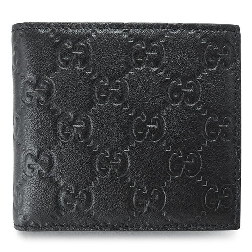 (グッチ) GUCCI 二つ折財布 146223 A0V1R 1000 メンズ GG柄レザー シマ ブラック [並行輸入品] B00I033R90