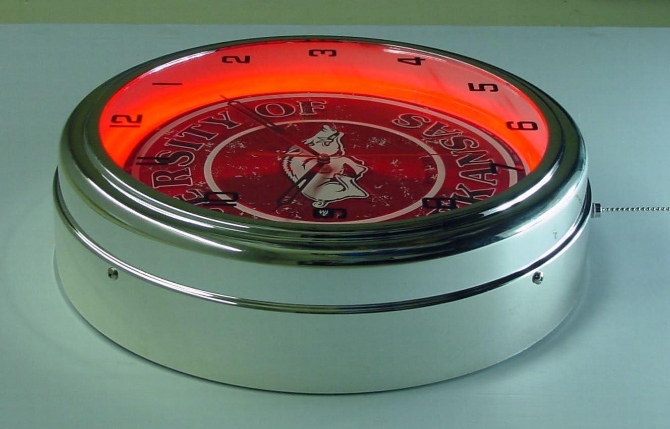 University of Arkansas Razorbacks Logo Sign Neon Lighted Wall Clock Chrome Red