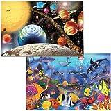 Melissa & Doug Jumbo Jigsaw Floor Puzzle Set - Solar System and Underwater (2 x 3 feet each)
