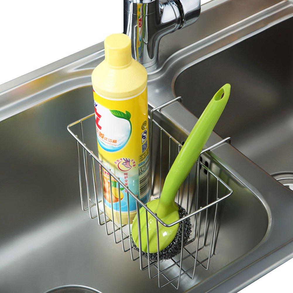 Sponge Holder, Sink Organizer Kitchen Caddy Sink Caddie Stainless Steel Holder Dishwashing Liquid Drainer Rack for Sink Countertop Storage with Sponge and Bottle Brush