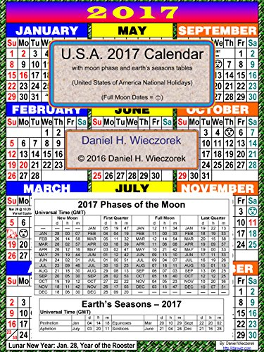 2017 U S A Calendar With Moon Phase Table Kindle Edition By