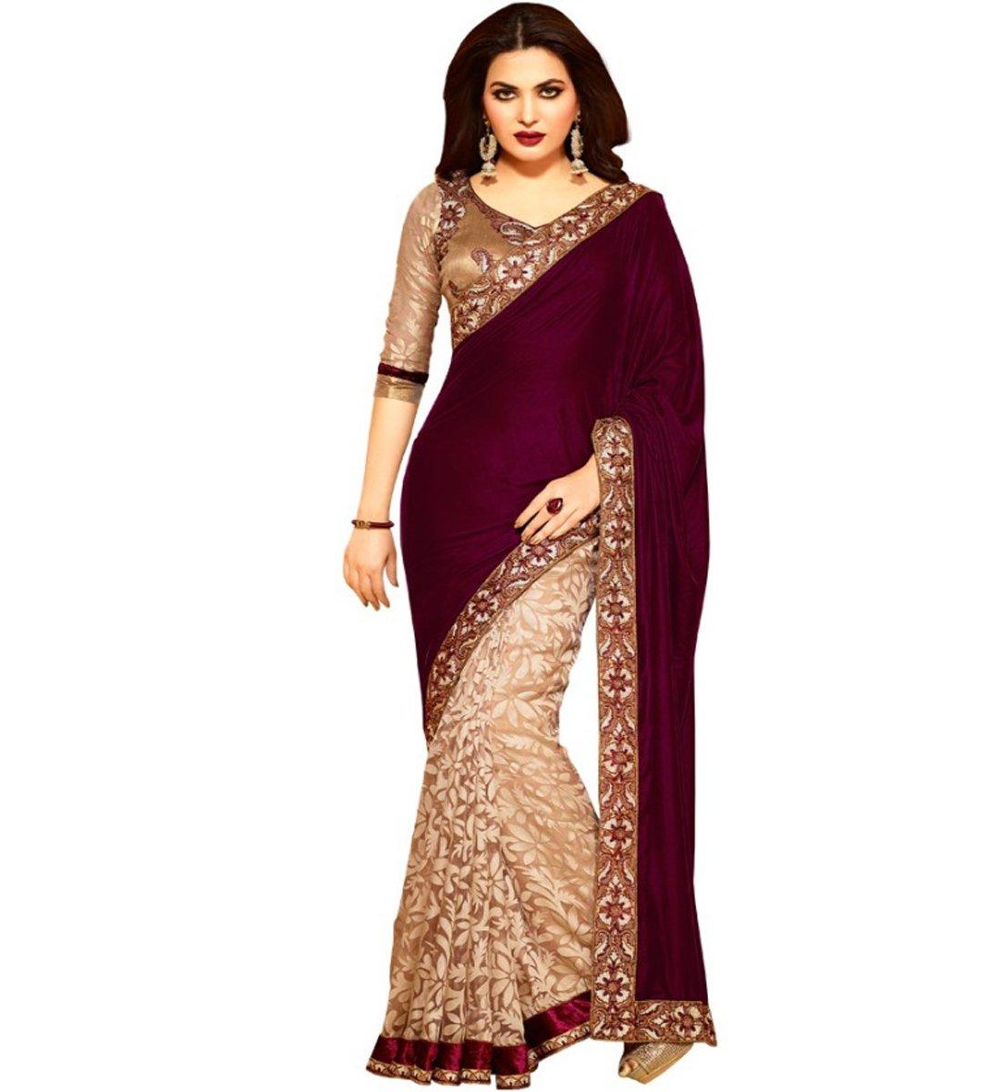 Muta Fashion Georgette Embroidered Traditional Women Saree (Maroon)