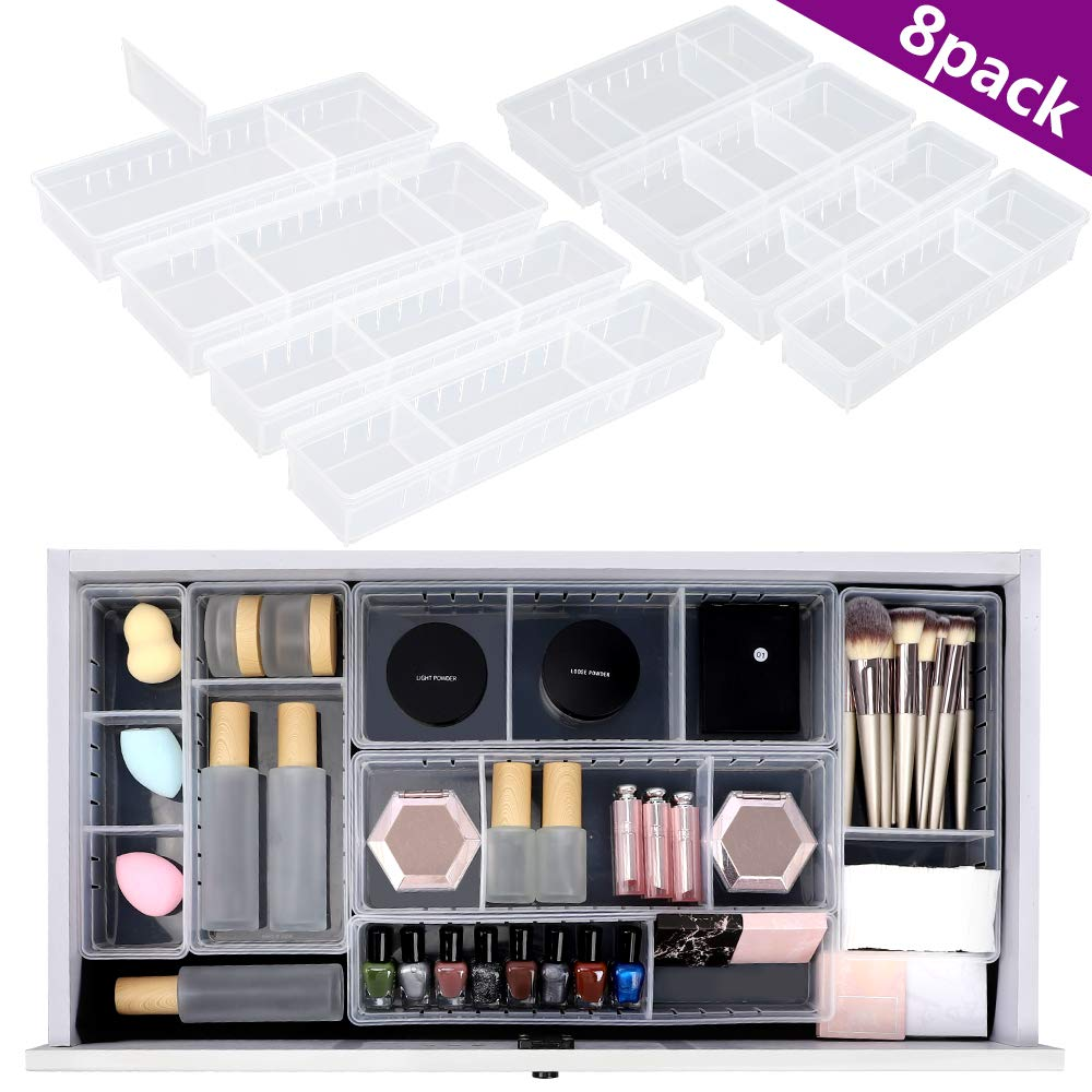 Mebbay 8 Pack Desk Drawer Organizer Tray with 16pcs Adjustable Dividers, Clear Plastic Drawer Organizer Tray for Makeup, Utensil, Office, Junk, Bathroom(4 Different Size)