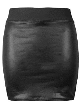 7ee349528f Purple Hanger Womens Wet Look Faux Leather Ladies Pencil Fitted Stretch  Elastic Waistband Wiggle Midi Skirt Plus Size ((8-10) SM, Wet Look Mini  Skirt): ...