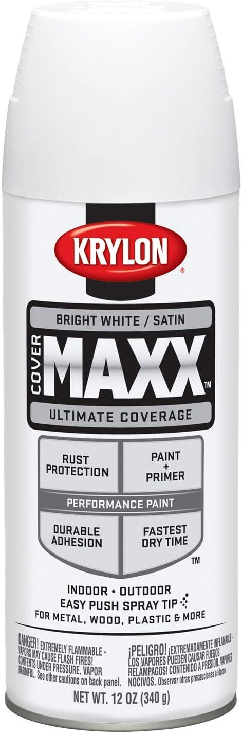 Krylon K09159000 COVERMAXX Spray Paint, Satin Bright White, 12 Ounce
