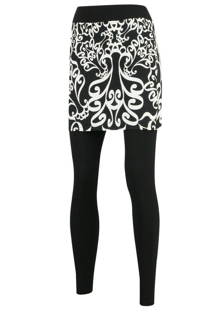 ililily Damask Pattern Printed Skirt Leggings Plus-Size Long Skinny Pants (leggings-159-1-L)