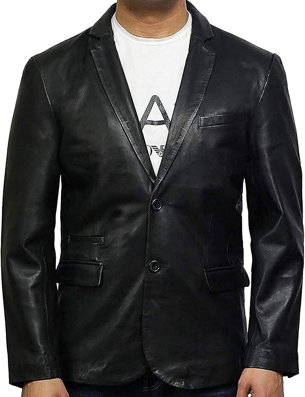 BRANDSLOCK Abrigo Blazer de Cuero Genuino de Piel de Cordero para Hombre Vintage Ligeramente Encerado
