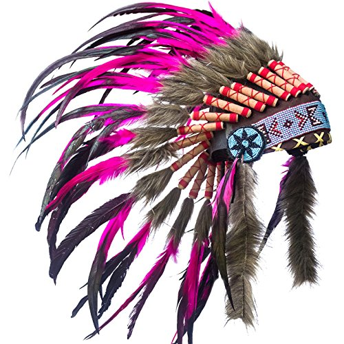 Indian Medicine Man Costume (KIDS SIZE Feather Headdress - Adjustable - Indian Inspired - Pink Rooster)