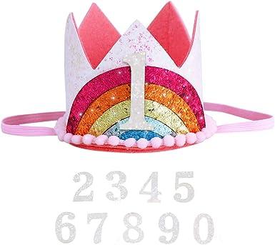 Amazon.com: Corona de cumpleaños con arco iris, corona de ...