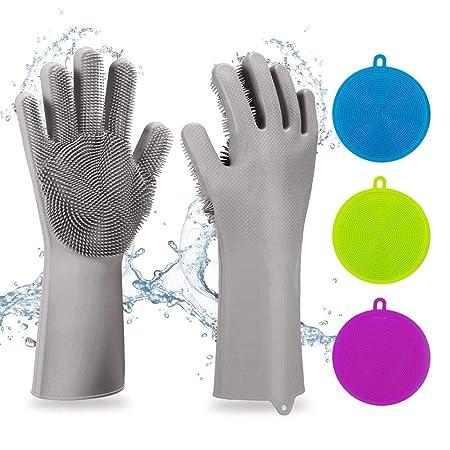 DAYPICKER 5PCS Silikon Handschuhe mit Wash Scrubber, Reinigungsbürste Scrubber Bürste hitzebeständige Handschuhe Küchenwerkze