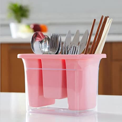 Kitchen Utensil Holder , Caddy Silverware Cutlery Organizer Tool , Plastic  Spoon Crock Container Cooking Cabinet