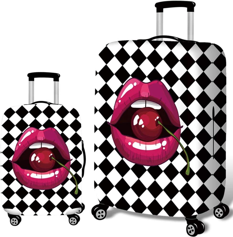 JIANGXIUQIN-Bag Luggage Cover Travel Luggage Cover Washable Suitcase Cover Fit 18-32 Inch Luggage Easy to Find Out Your Luggage Luggage Protector Color : Cherry, Size : S 18-21