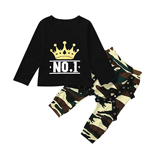 9a1d2f5725bb5 Amazon.com: XUANOU Children's Long Sleeve Crown Letter Printed Top  Camouflage Pants 2PC Set Toddler Kids Baby Boy T Shirt Tops Outfits:  Clothing