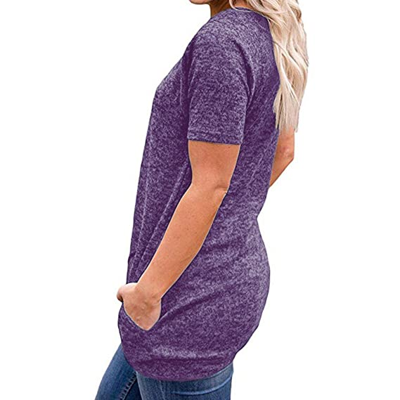 LILICAT 2018 Moda para Mujer Camiseta de Verano Casual para Mujer Manga Corta Sólido Bolsillos de
