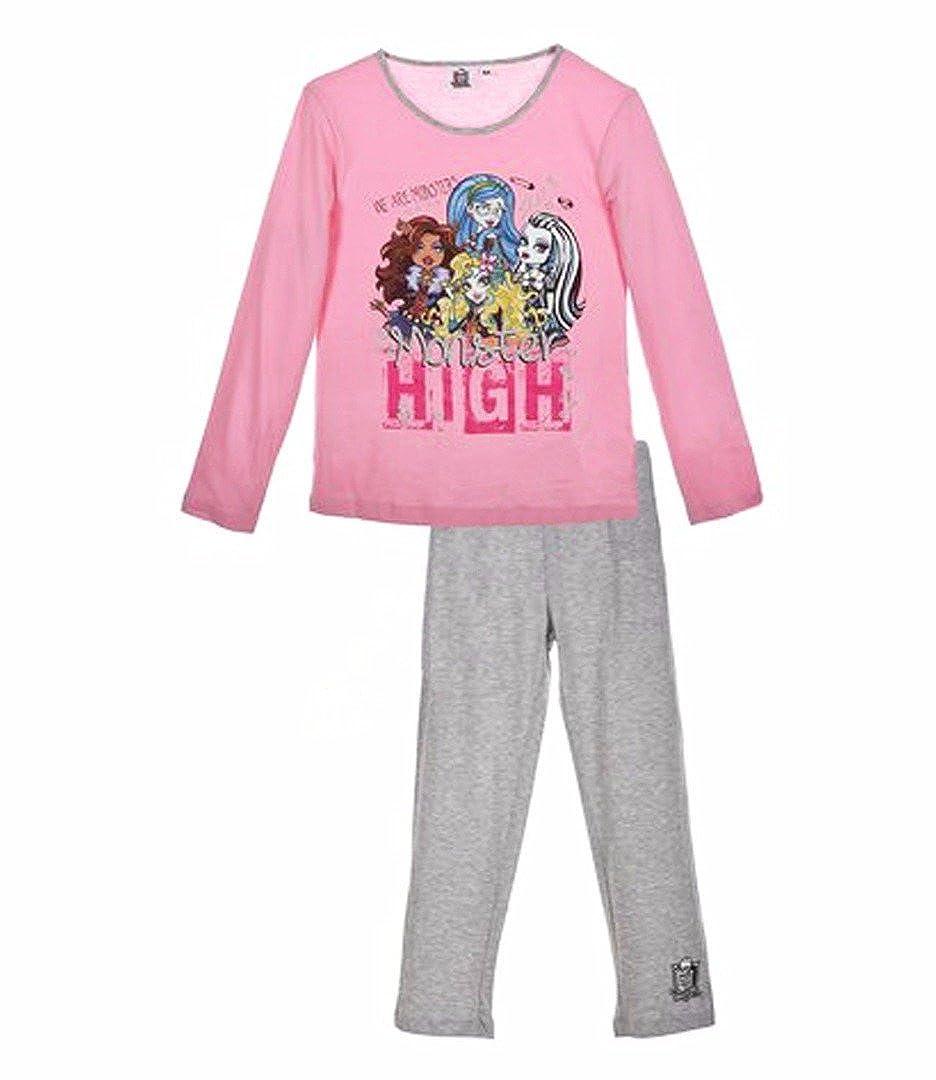 Monster High Girls Long Sleeve Pyjama Set Pink/Grey 11-12 years 04181-12