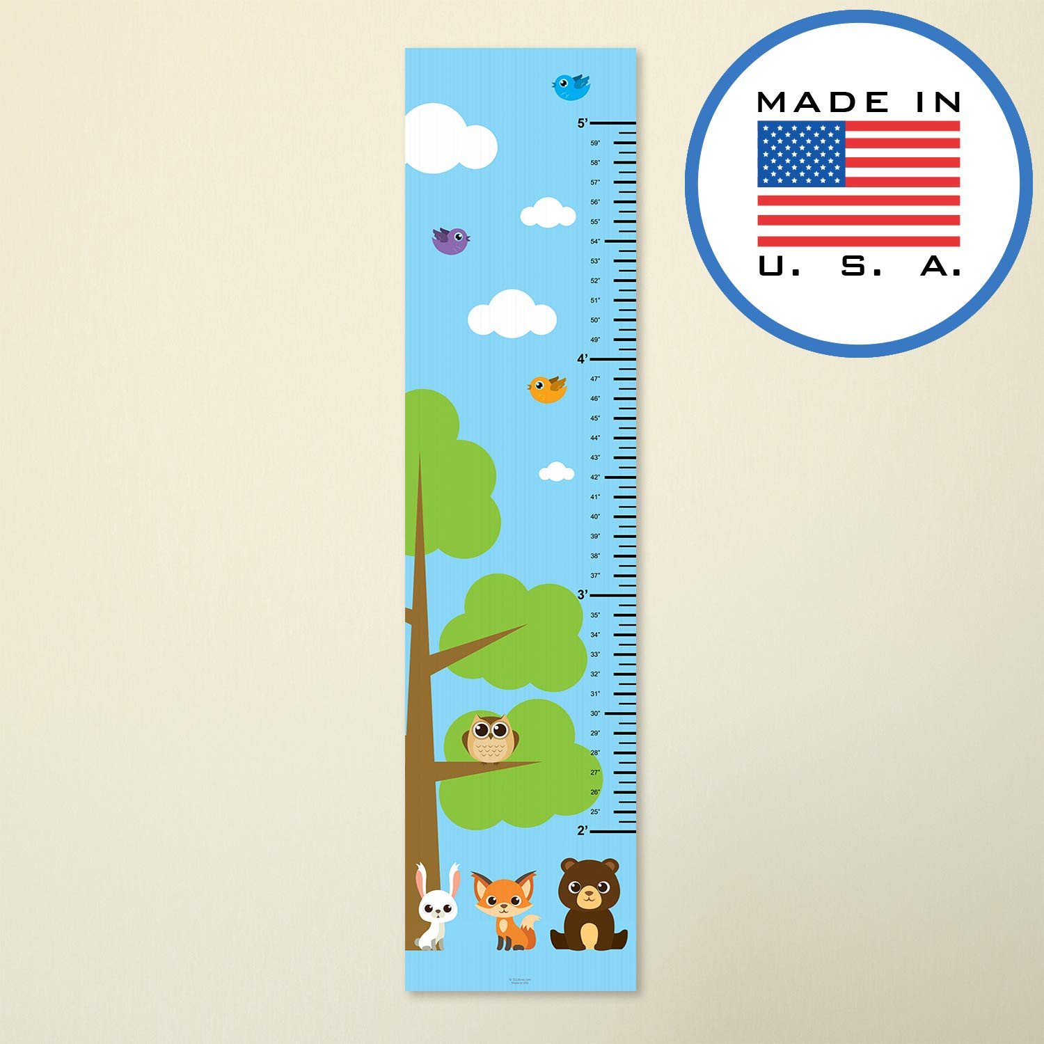 321Done Growth Chart Woodland Forest Animals with Tree Fox Owl Rabbit Bear, Kids Hanging Height Ruler Vinyl Banner, Nursery Wall Decor, Blue Sky NPGC1001-A