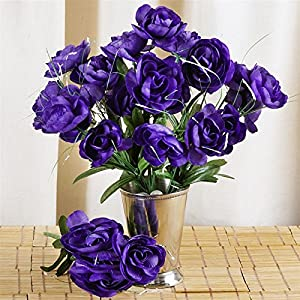 Tableclothsfactory 84 pcs Artificial Camellia Flowers for Wedding Arrangements - 12 Bushes-Purple 53
