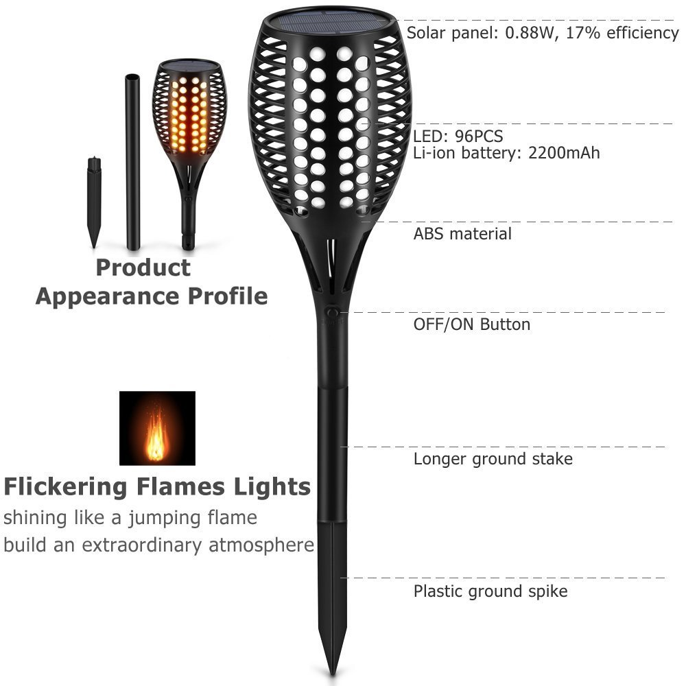 Solar Tiki Light By Kshioe,96LED Waterproof Flickering Flames Torches Lights Outdoor Landscape Decoration Lighting Dusk to Dawn Auto On/Off Security Path Light for Garden Patio Deck Yard Driveway (8) by Kshioe (Image #3)