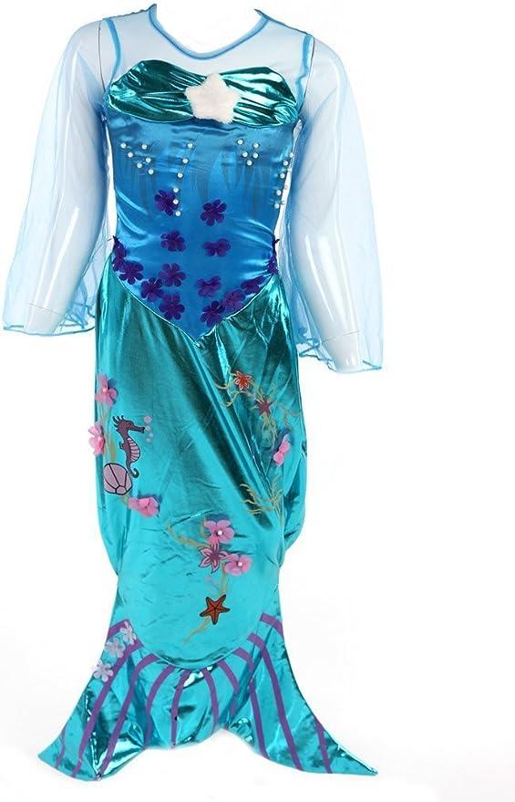 Katara- Disfraz de Ariel para niñas, Color turquesa, 3-4 años ...