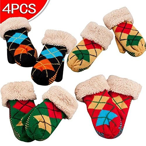 COFFLED Color Send out Randomaly Pack of 4 Pairs Winter Baby Plush Gloves with String for Cold Weather, Super Soft Value Packed Children and Toddler Knit Mittens Color Send out Randomaly