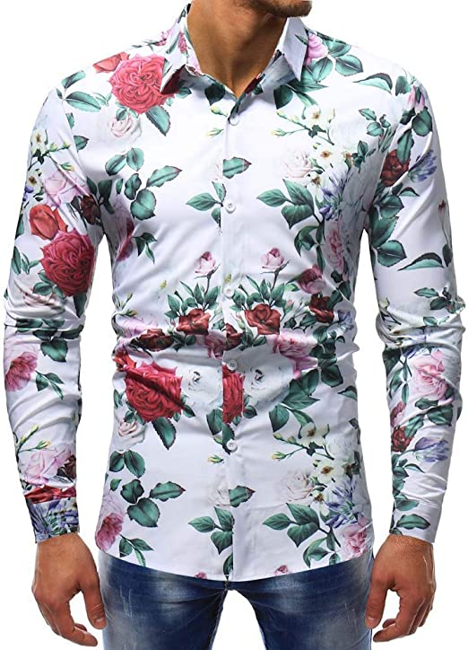WWricotta LuckyGirls Camisa Negocio para Hombre de Manga Larga Formales Camisetas Estampado de Floral Casual Entallada Remeras: Amazon.es: Deportes y aire libre