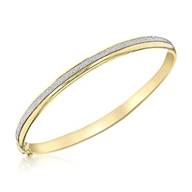 Carissima Gold Women's 9 ct Gold 6 mm Diamond Cut Pine Flexible Bangle