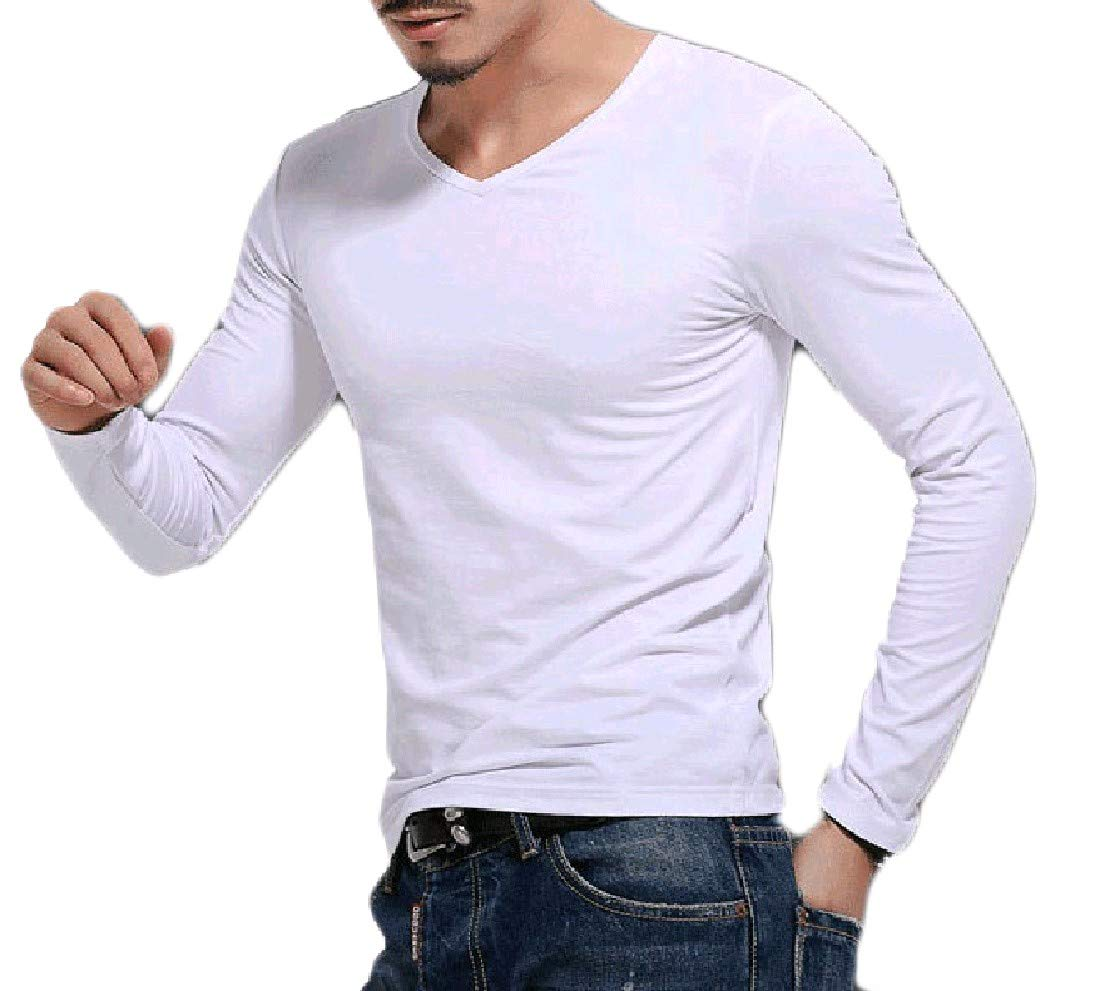 Nicelly Men's Solid Color Pullover Skinny Juniors' Tees Pullover Top 7 2XL