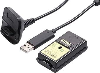 booEy Akku und Ladekabel Set für Xbox 360 Controller 4800mAh schwarz
