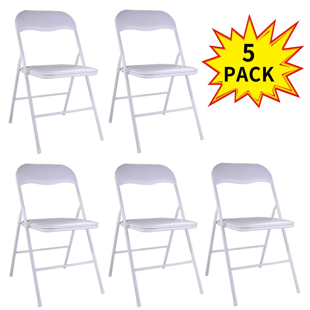 5-Pack Plastic Folding Chairs Wedding Banquet Seat Premium Party Event Chair White by LAZYMOON