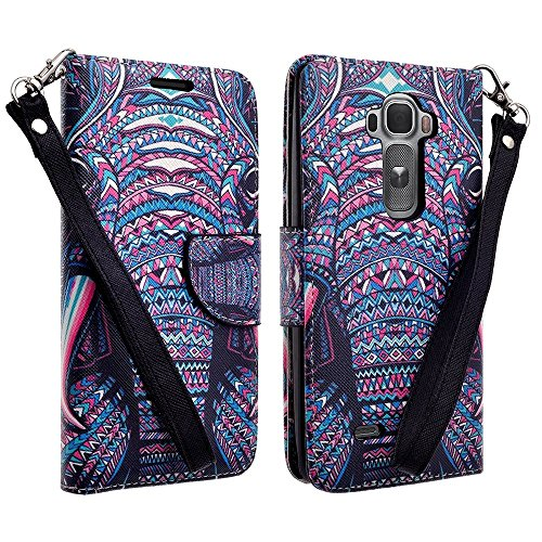 Customerfirst - Flip Wallet Pouch, Slim Folio Case with Kickstand, 2 Credit Card Slot Wallet Pouch Leather Wallet Folio Case With Kickstand, Credit Card ID Slots, Book Fold, Currency Pocket, For LG G3 - Free Flashlight Key chain (INDIAN ELEPHANT)