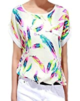 Internet Casual Women Feathers Chiffon Blouse Top Loose T-Shirt