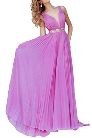 MILANO BRIDE Evening Prom Dress Sexy V-neck A-line Chiffon Rhinestone Open Back